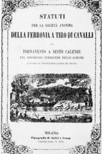 Statuti per la società anonima DELLA FERROVIA A TIRO DI CAVALLI